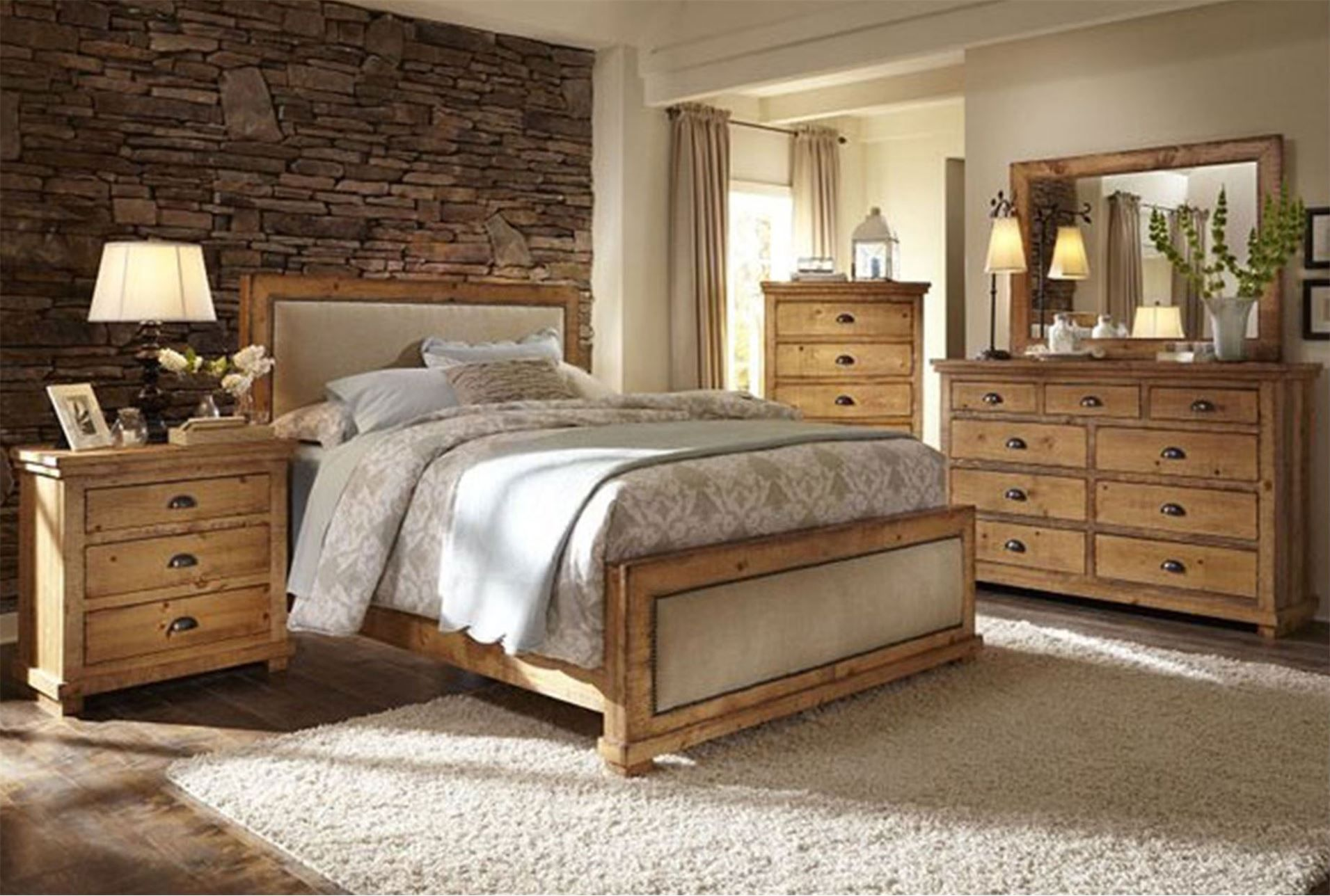 Sinclair pine california king panel bed master bedroom