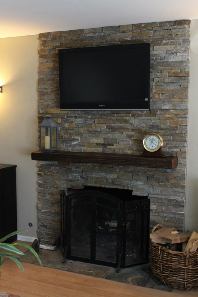 Stone Tile Fireplace Stacked