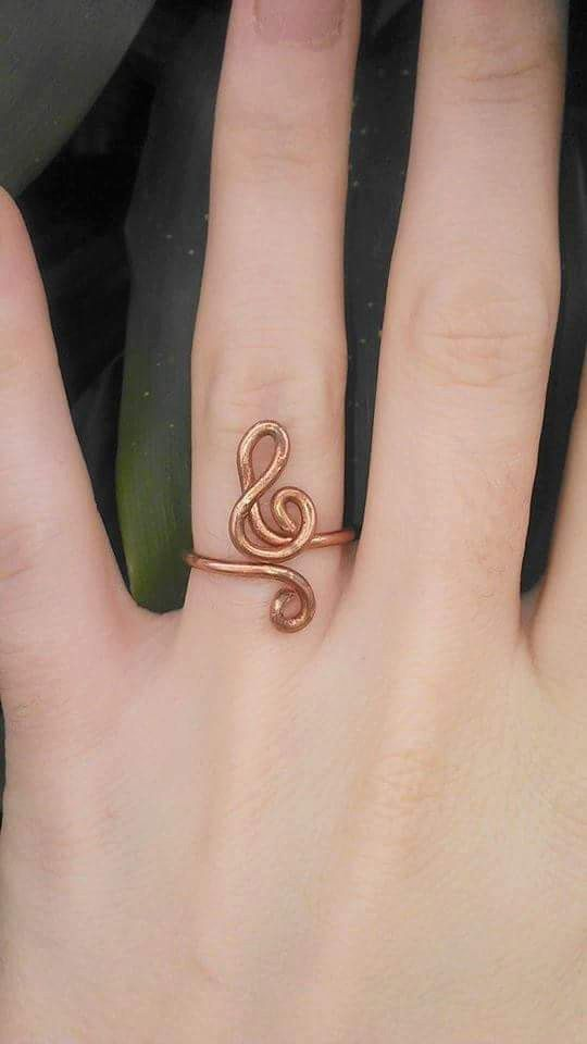 Treble clef ring copper ring wire wrap ring music note ring music ...