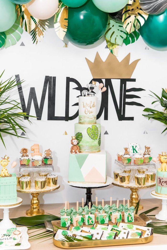 Modern Wild One 1st Birthday Jungle Party | Kara's Party Ideas