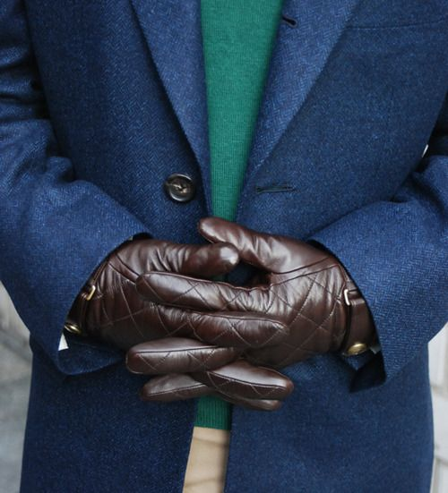 blue, green, and brown leather gloves | DUDES | Pinterest | Gloves ... : leather quilted gloves - Adamdwight.com