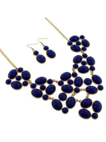 $7.85 19 Goldtone and Midnight Blue Bubble Necklace and Earring Set