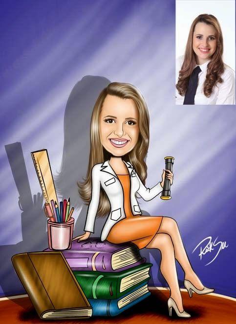 Caricaturas digitais, desenhos animados, ilustração, caricatura realista: Caricatura de Pedagogia !!