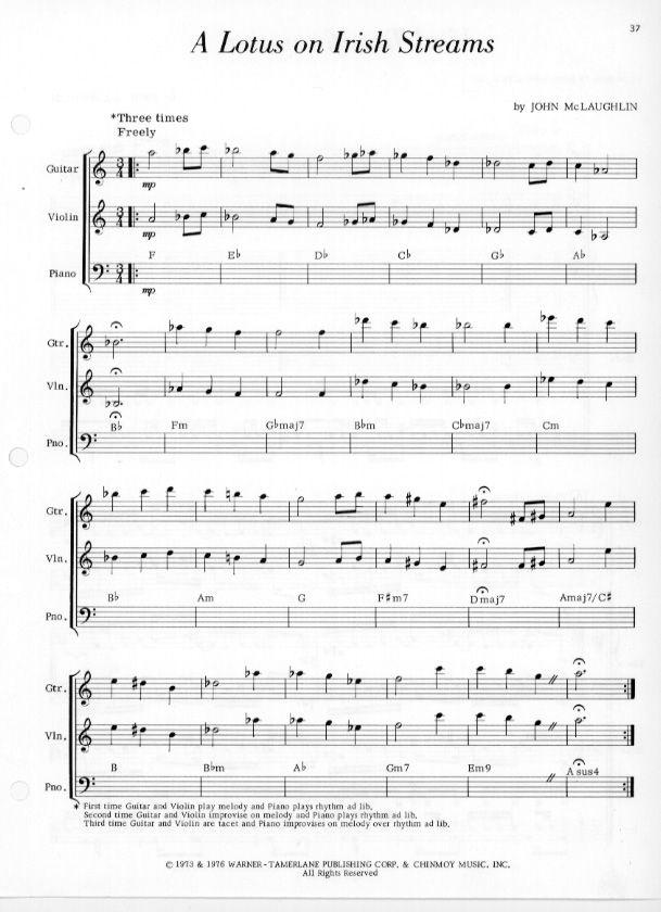 A Lotus On Irish Streams By John Mclaughlin Namesake Sheet