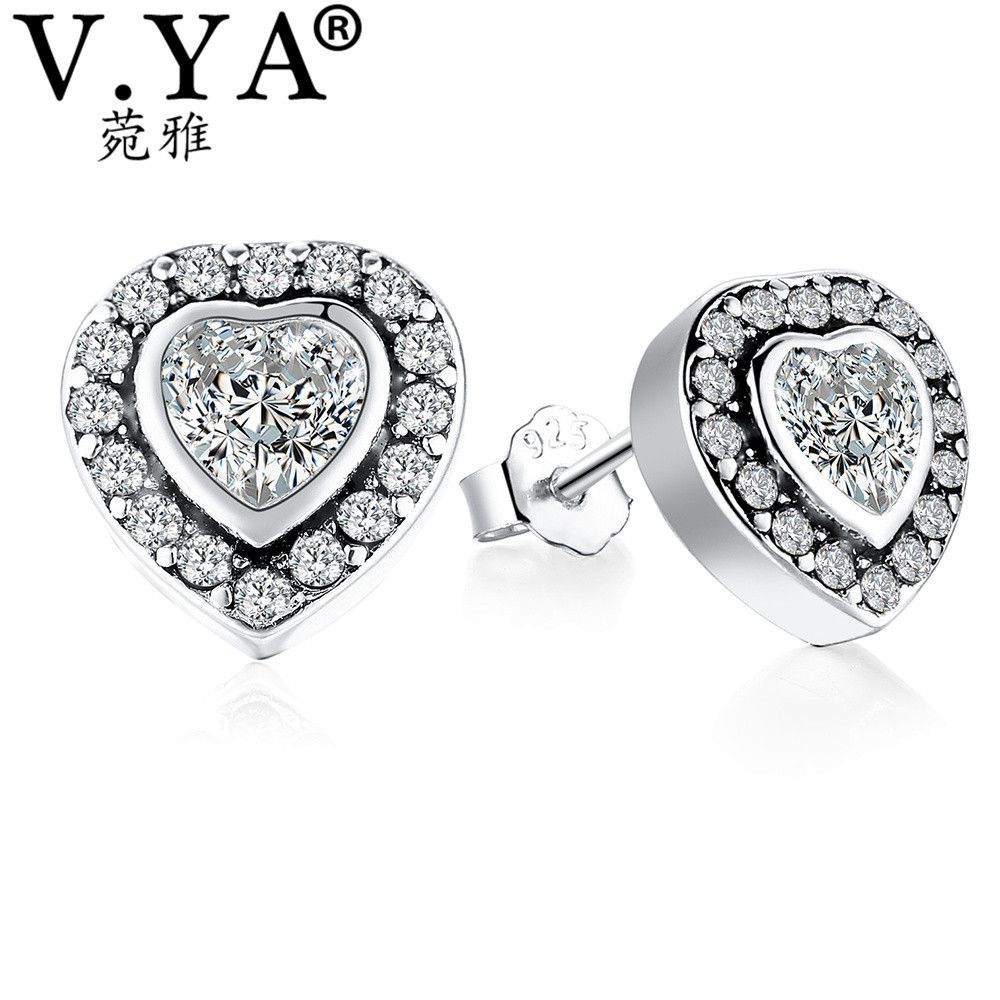 925 Sterling Silver Stud Earrings for Women Made with Heart Crystal 6I1Kj3C