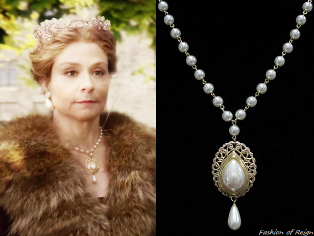 In the sixth episode queen Catherine wears this Renaissance Jewelry by Dorothea SCA Medieval Pearl Pendant Necklace ($28/currently out of stock). Worn with Paris by Debra Moreland headpiece.