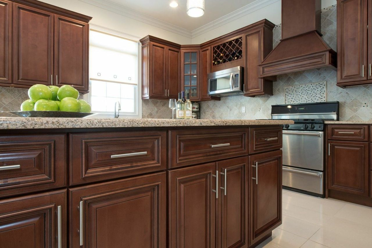 Best Kitchen Cabinets Dark Brown Cherry Wood Finish Brushed 400 x 300