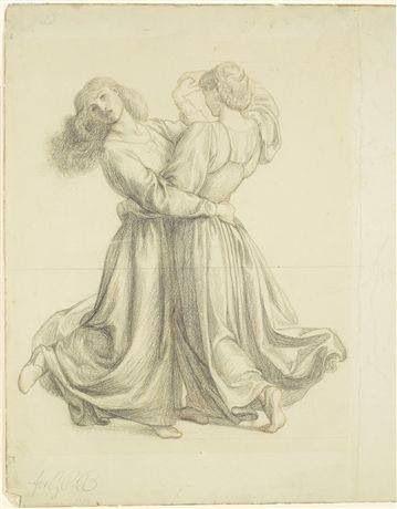 Drapery study for two girls dancing - Dante Gabriel Rosetti.