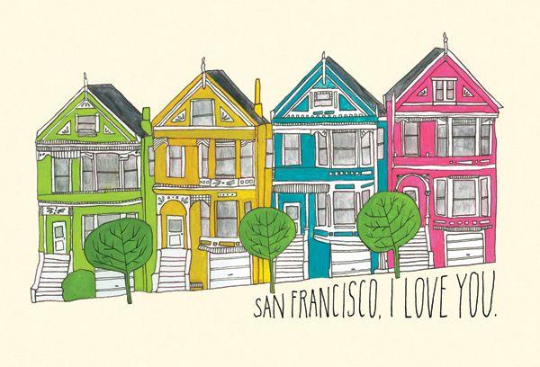 San Francisco, I Love You Notecards by Lisa Congdon http://thebolditalic.bigcartel.com/product/sf-i-love-you-notecards-set-by-lisa-congdon #illustrations #houses