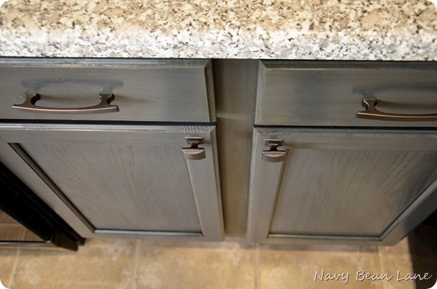 Winter project mission de golden oak my cabinets with for Grey stained kitchen cabinets