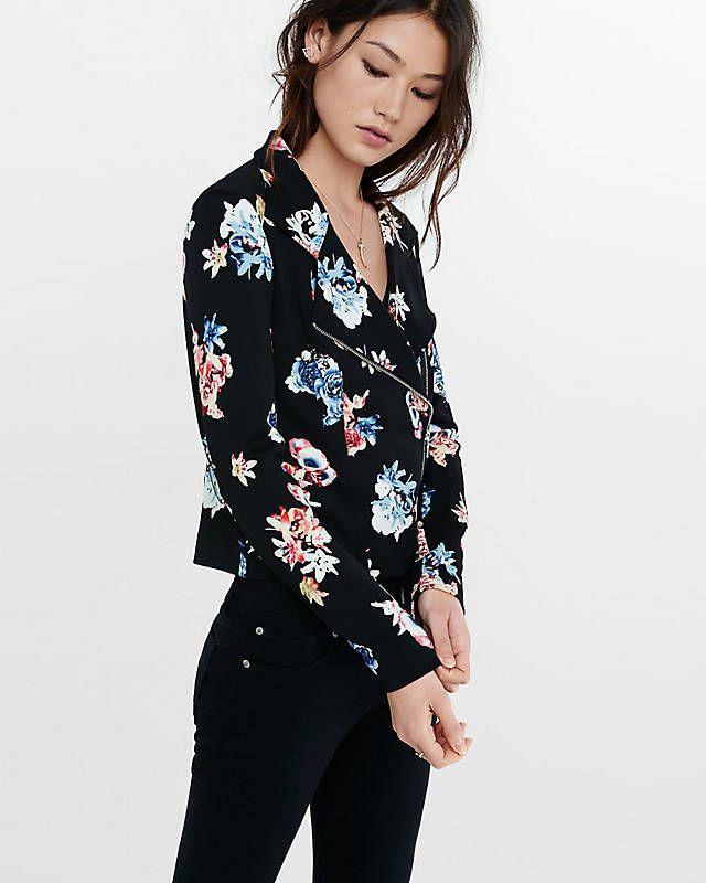 Floral Print Moto Jacket
