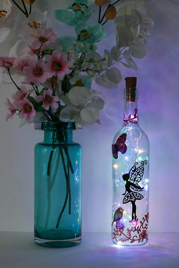 Fairy Lights Bottle Lamp Butterfly Gifts Fairy Gifts Bottlelamp Wine Bottle Diy Crafts Bottle Crafts Wine Bottle Crafts