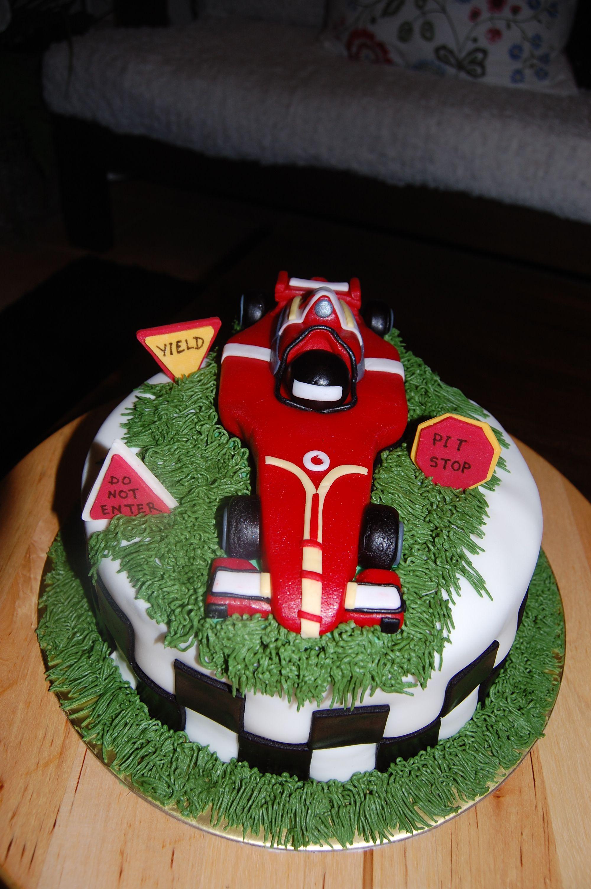 F1 Car cake with edible car topper cakes Shenulis Pinterest