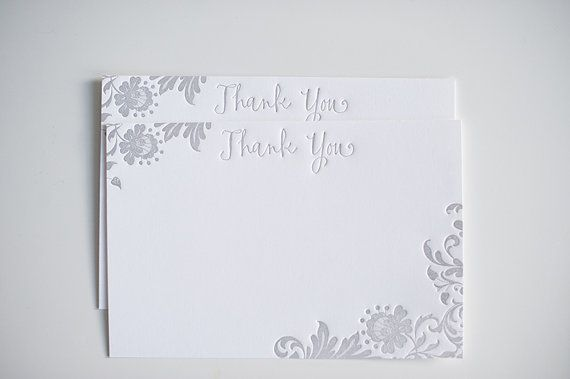 Gray Letterpress Thank You Notecards  Set of 10 by LHCalligraphy, $20.00