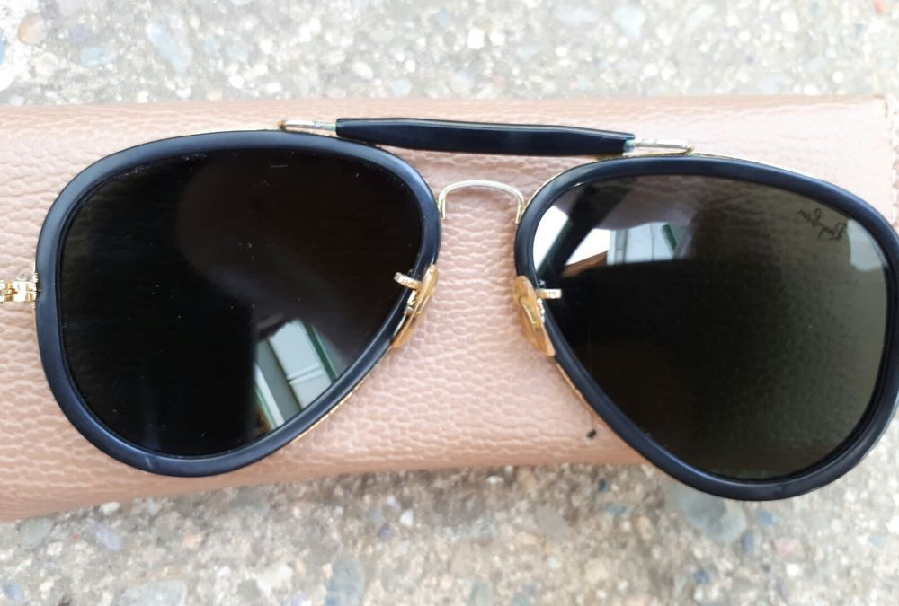 378749bf2691 Vintage B&L Ray Ban Traditionals Style G Black Outdoorsman Aviator W0744  62[]14 #RayBan #OUTDOORSMANAVIATORS