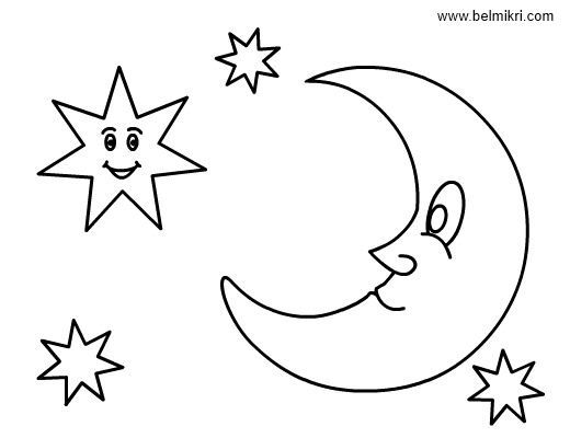 Smiling Star Stars and Moon Colouring Pages Coloring Pages For