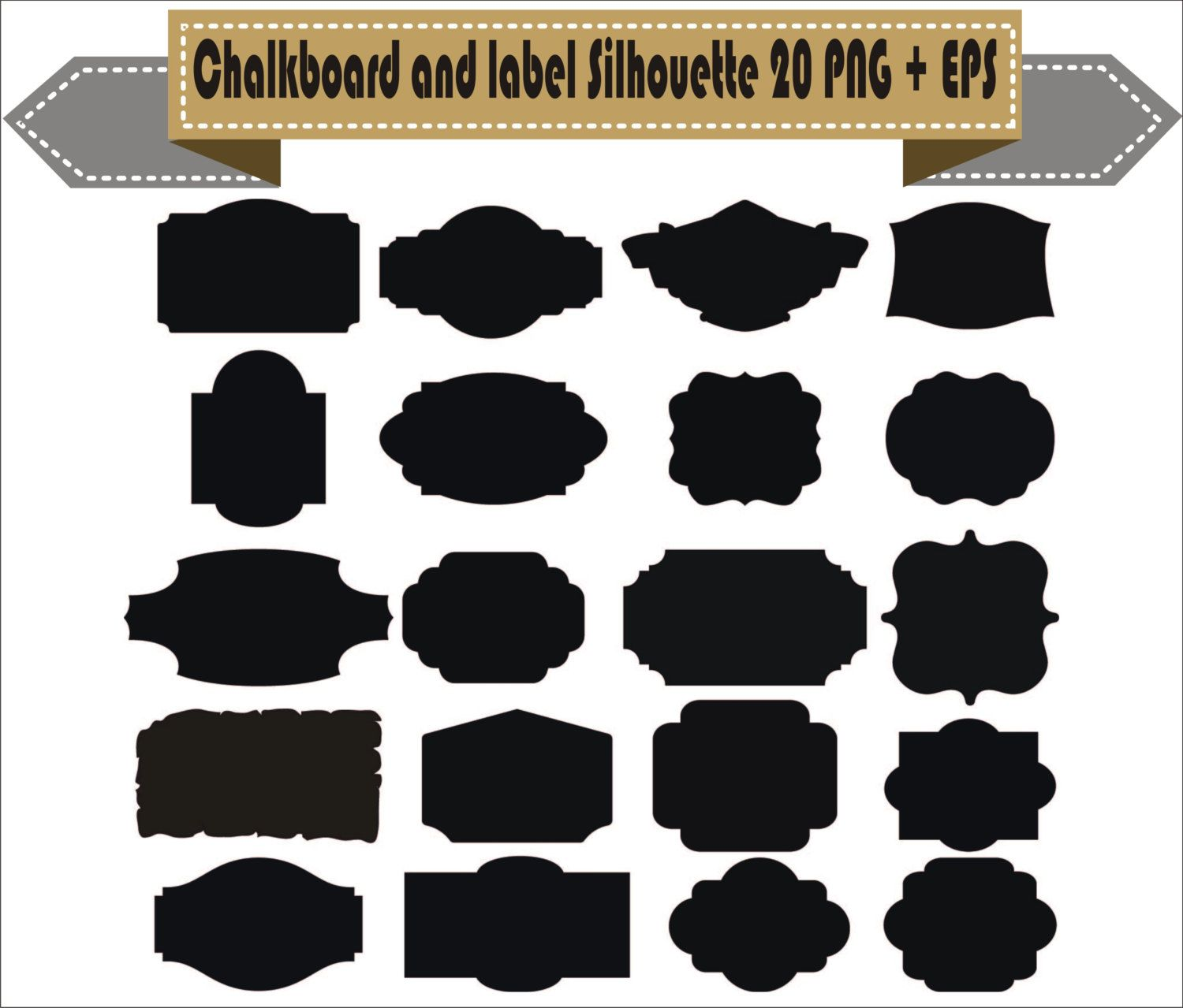 Chalkboard Frame Badges Vintage Motif Label Shapes Pack Silhouette