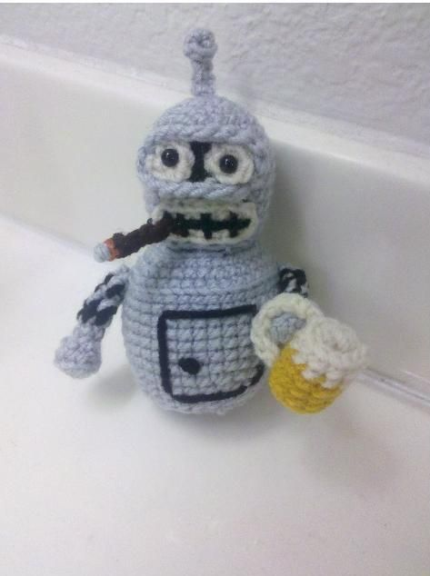 Futurama Bender crochet pattern - Need to learn to make this!.. Shop closed but pattern for the beer and cigar on blog.