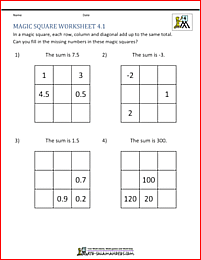 4th Grade Magic Square Puzzle - fill in the missing numbers to make