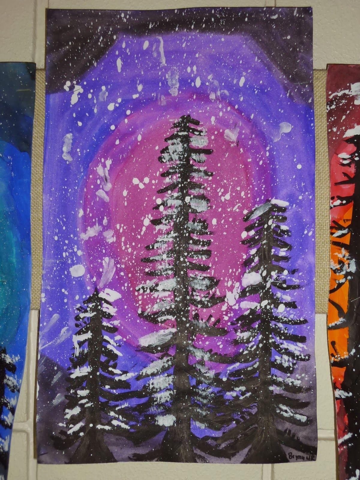 4th Grade Winter Paintings Winter Art Lesson Winter Art