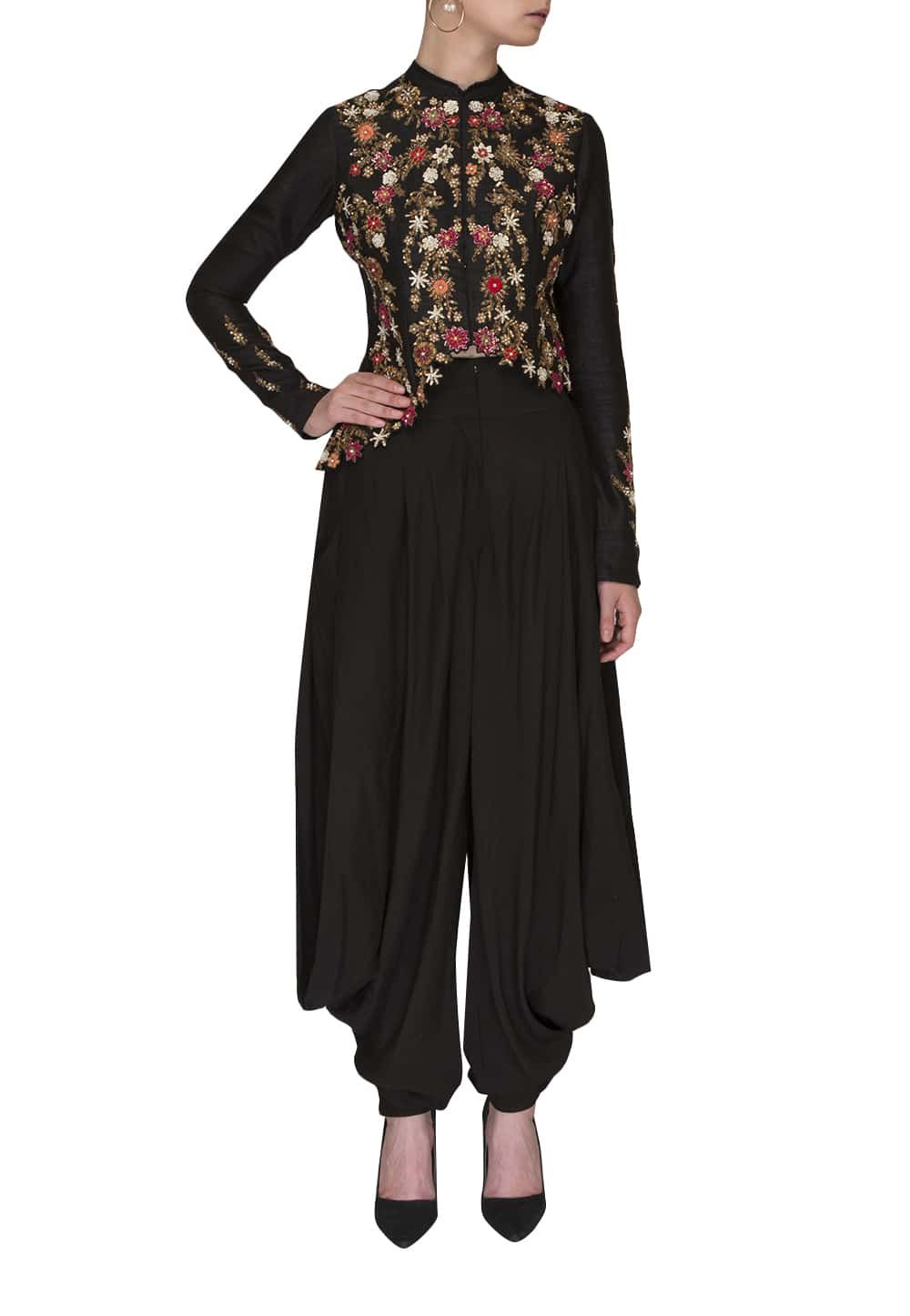 edf9d776e4ec6e Black Embroidered Cut Work Style Asymmetric Jacket Paired with Dhoti Pants  available only at IBFW