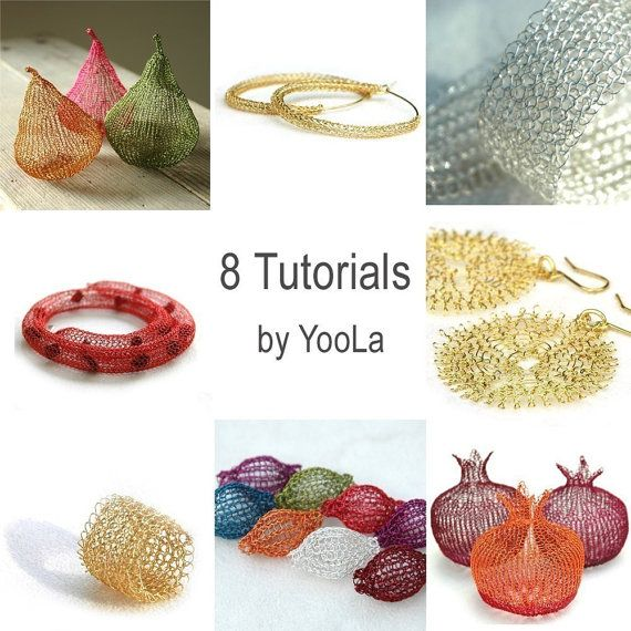8 Crochet Wire Jewelry Patterns in PDF - ring, sunflowers, hoops ...