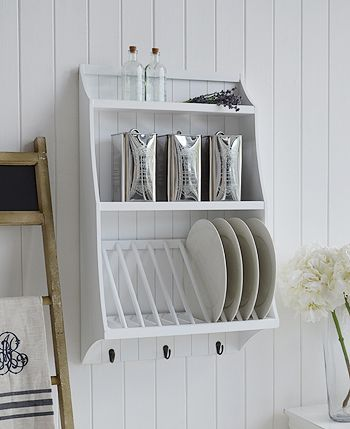 Lovely White Kitchen Plate Rack For Dinner Plates With Shelves And Hooks