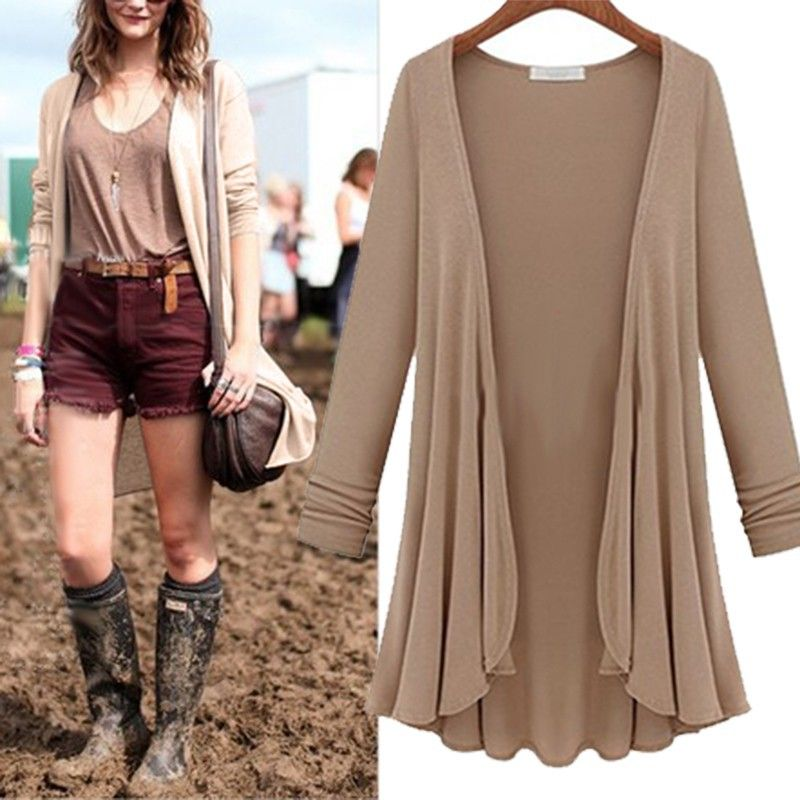 2015 outono inverno nova moda casual solta manga comprida Flounce Hem  Mulheres malhas longo Casaco Poncho Cardigan feminina blusa blusa . efa9ee0c7ce88