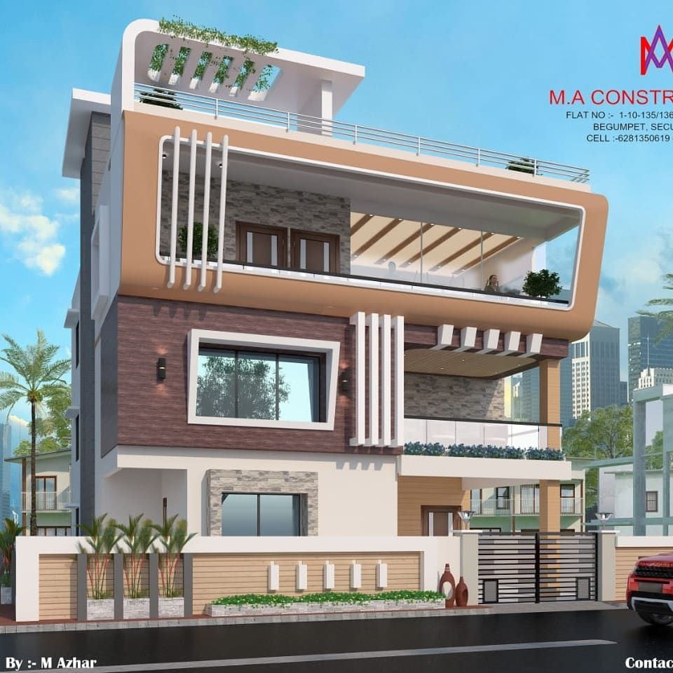 Exteriors And Architectural Colonial Style Houses By M A Constructions Colonial Homify Compound Wall Design Modern Exterior House Designs Duplex House Design