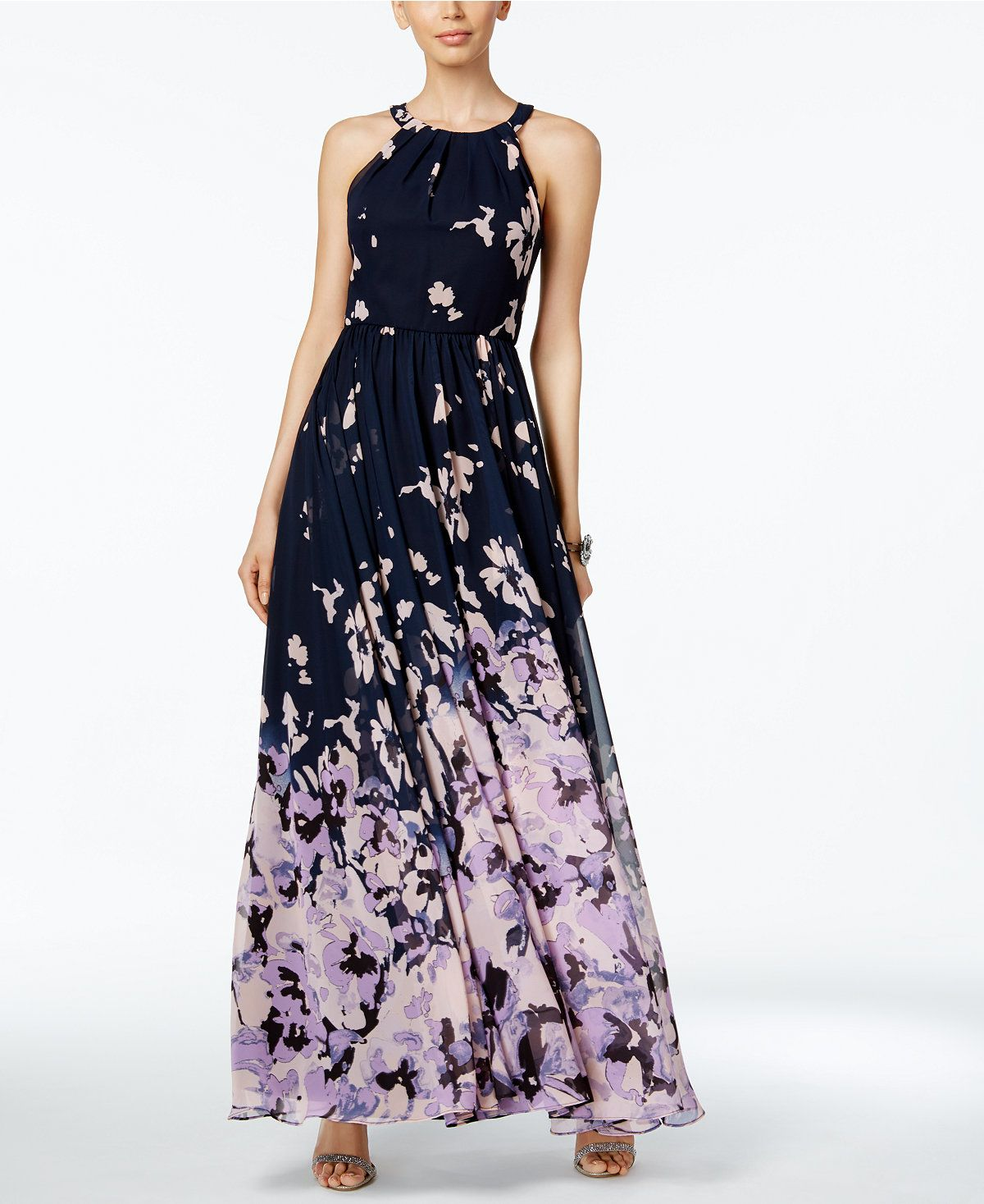 ad6169fcb90 Betsy   Adam Printed Halter Gown - Dresses To Wear To Wedding - SLP - Macy s