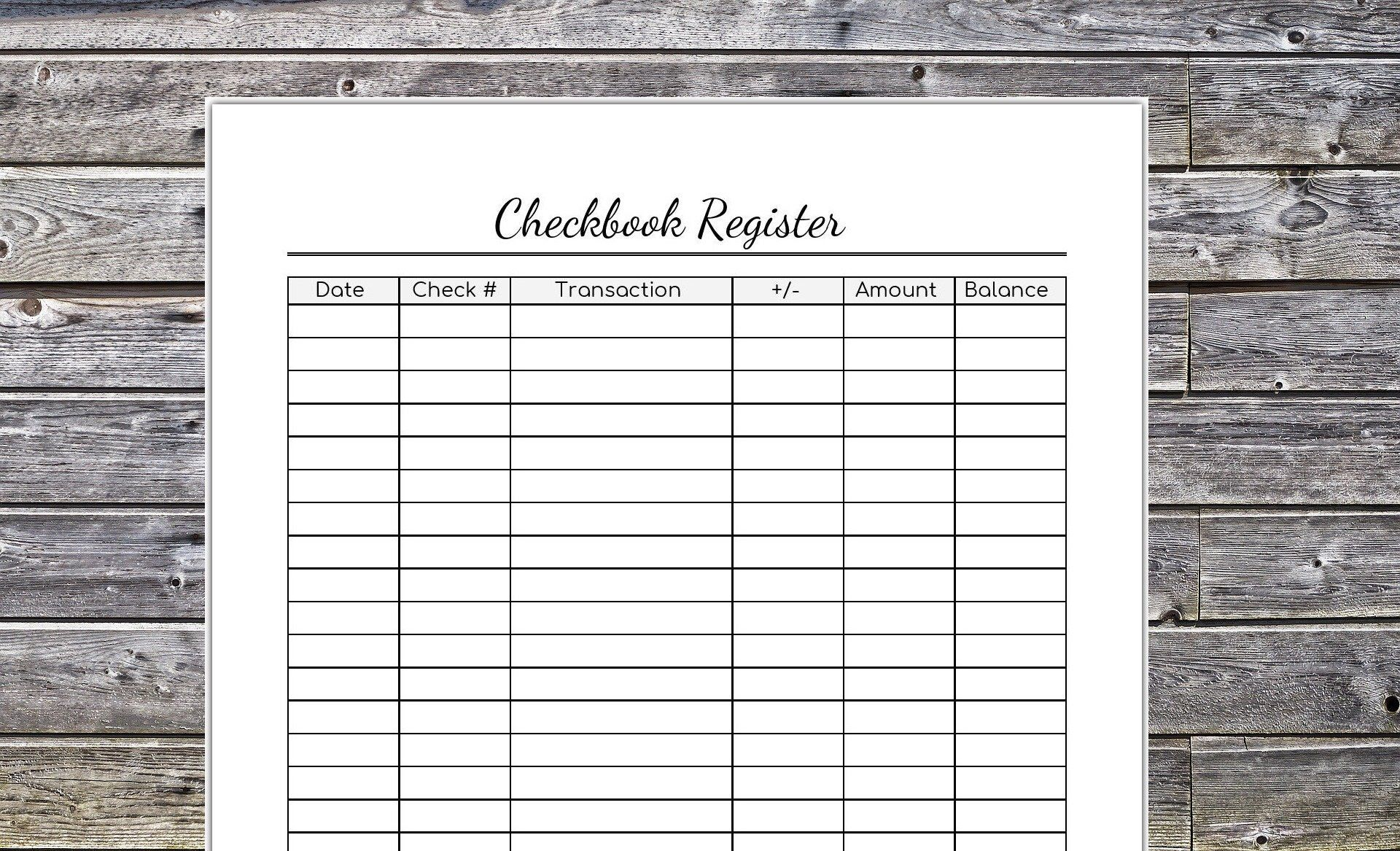 Checkbook Register Printable Expense Register Finance