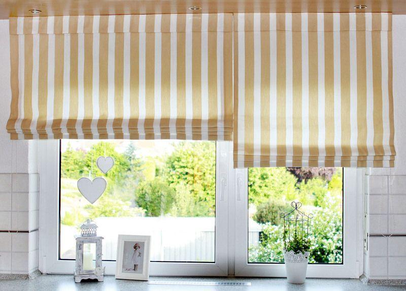 Raffrollo schlafzimmer ~ Raffrollo beige weiße blockstreifen von window fashion auf