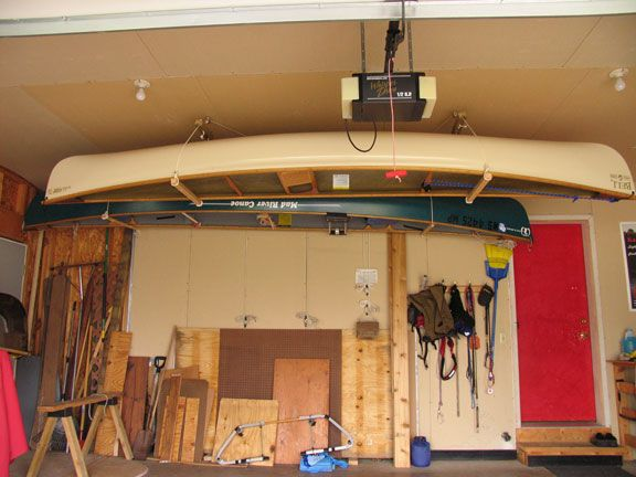 Garage Cano Pulley System Like The Wooden Dowels For Support On Each Side Of Canoe And Multi Storage Sy Canoe Storage Kayak Storage Garage Kayak Storage Rack