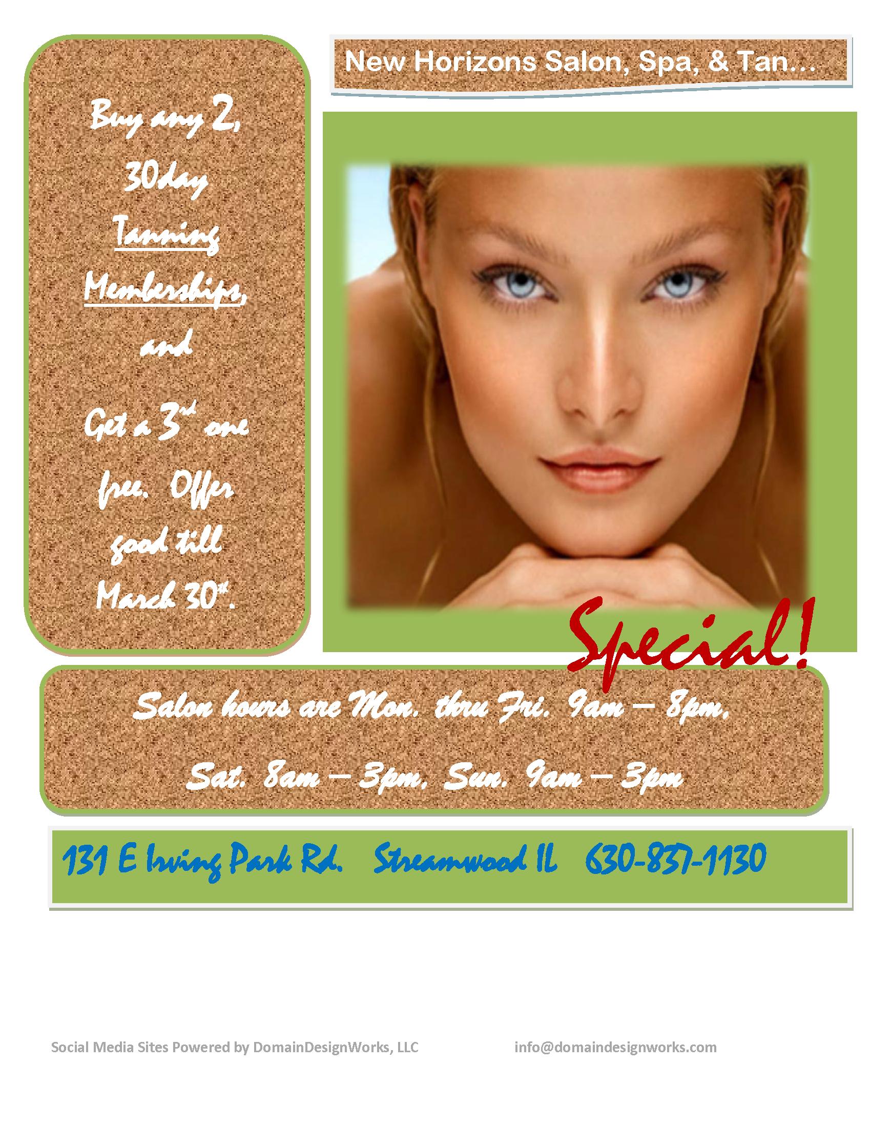 New Horizons Salon Spa & Tan Walkins call for