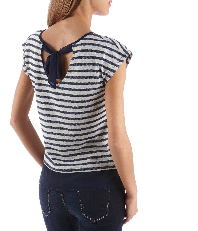 CAMAIEU – T-shirt femme bi-matière avec noeud dos