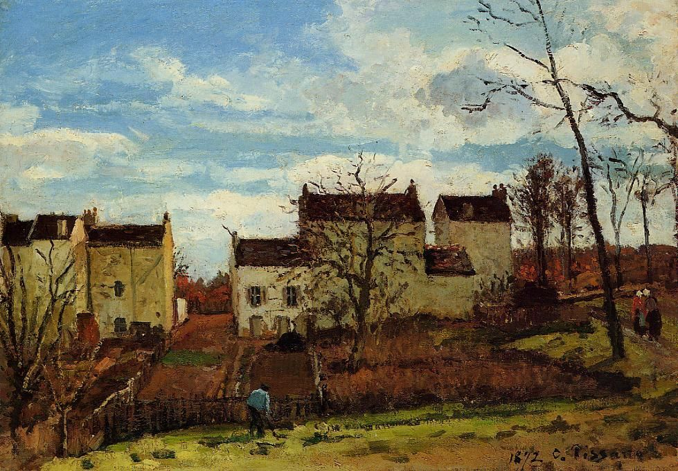 Spring at Pontoise 1872 by Camille Pissarro