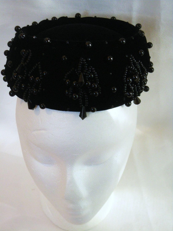 b757c167e1e0f Vintage 1950S Black Velvet Beaded Pillbox Hat Bloomingdales Betmar ...