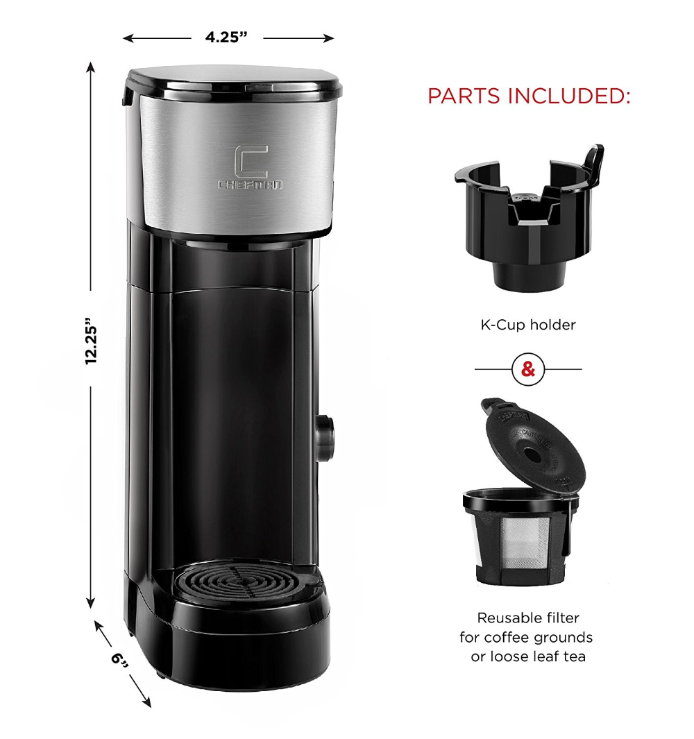 Chefman Pod Coffee Maker KCup InstaBrew Brewer (With