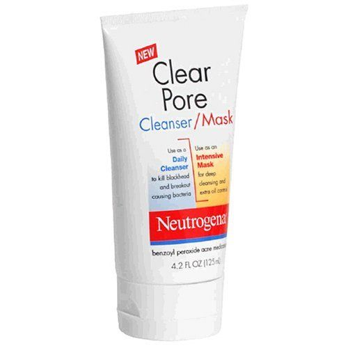 Neutrogena Clear Pore Cleanser/Mask, 4.2 Ounce (Pack of 3) by Neutrogena. $31.00. Clean rinsing skin is left clean and smooth. 3.5% Benzoyl Peroxide. Please read all label information on delivery. Kills breakout causing bacteria. For Deep CLEANsing. Clear Pore Cleanser/Mask is a breakthrough acne-fighting formula that can be used two ways as a daily cleanser or as a mask.  This dermatologist-tested formula has the acne-fighting power of Benzoyl Peroxide to kill bacteria and t...