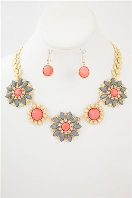 Floral Dark Pink and Grey Necklace