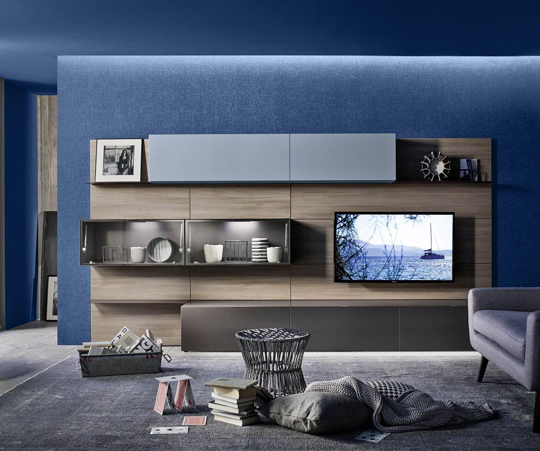Wohnwände   Helle eiche, Tv board und Wohnzimmer modern