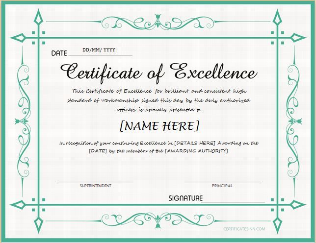 Certificate of Excellence Microsoft word Printable certificates