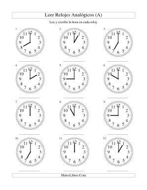 Leer La Hora En Un Reloj Analógico En Intervalos De Una Hora Todas Hojas De Ejercicios De Tiempo Lectura De Las Hojas De Cálculo Leer Y Escribir Reloj