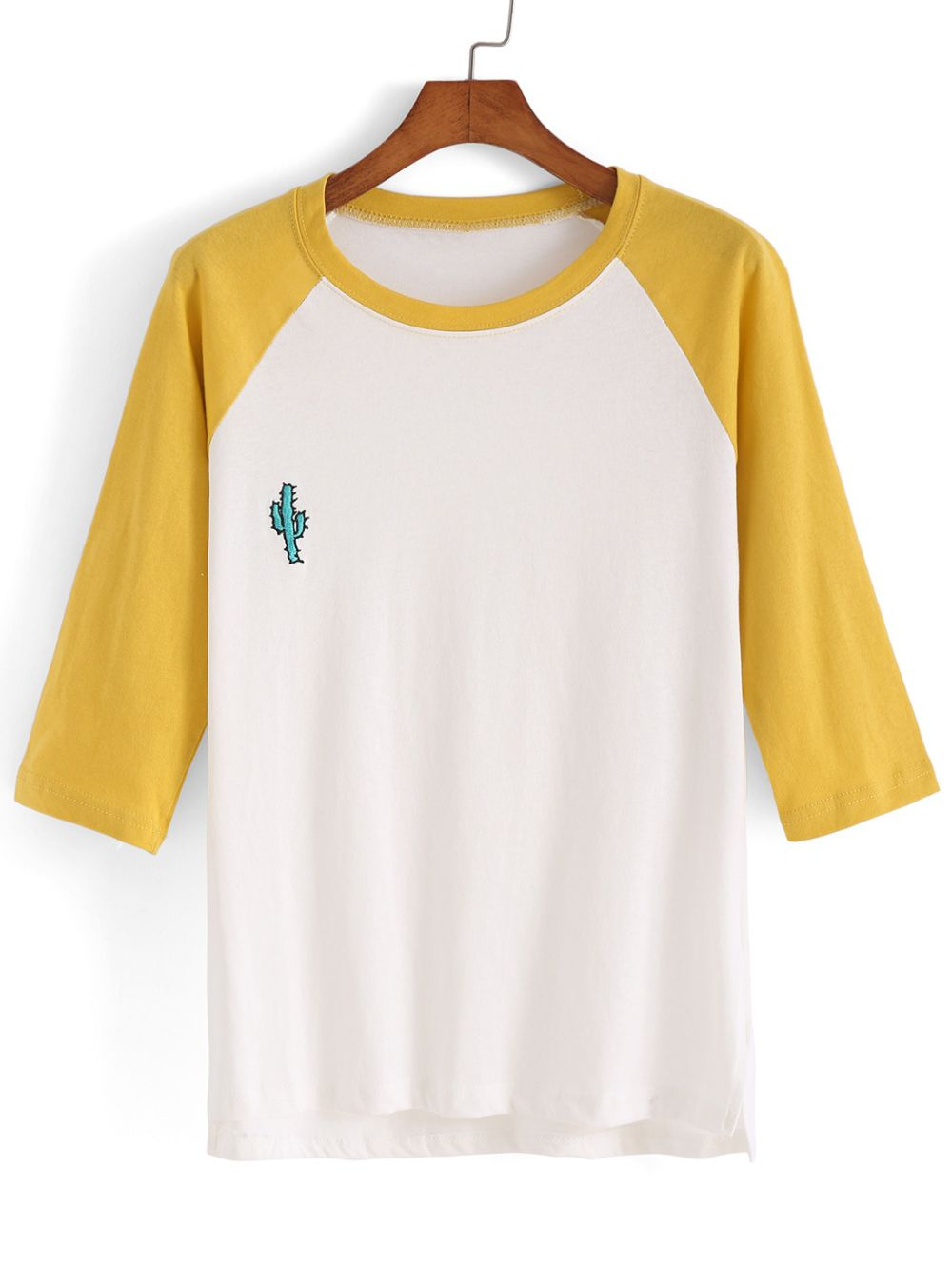 Dip Hem Colorblock Embroidered Tshirt