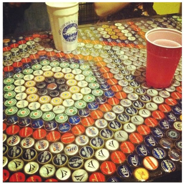 Use Bottle Caps For Coffee Table And Give It To Dad For His Garage/bar/man  Cave