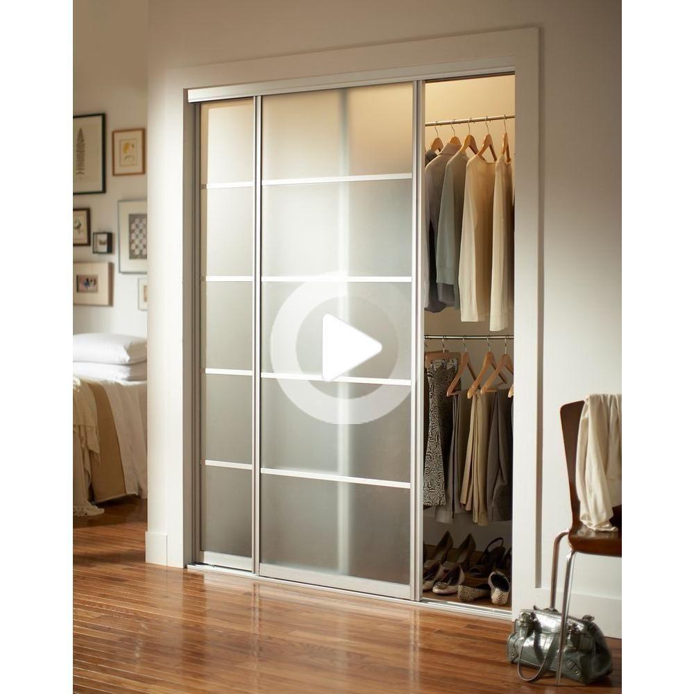 Contractors Wardrobe 72 In X 96 In Silhouette 5 Lite Brushed Nickel Aluminum Frame Mystique Glass Modern Closet Doors Modern Closet Sliding Door Design