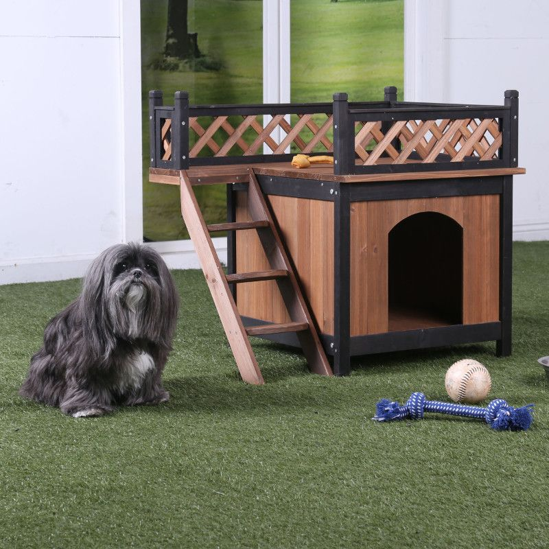 CMPH318 Cresbard oak and black wood fenced roof small pet