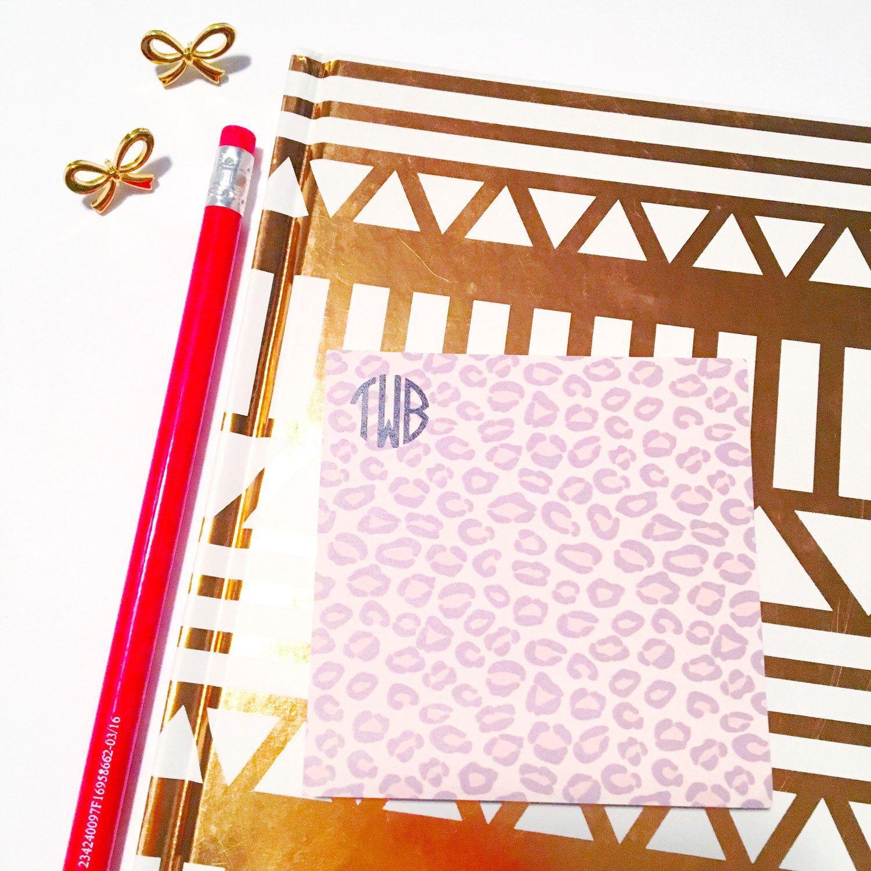 idea office supplies. Leopard Print Office Supplies, Desk Decor, Monogrammed Notepad, Monogram Sticky Notes, Idea Supplies A