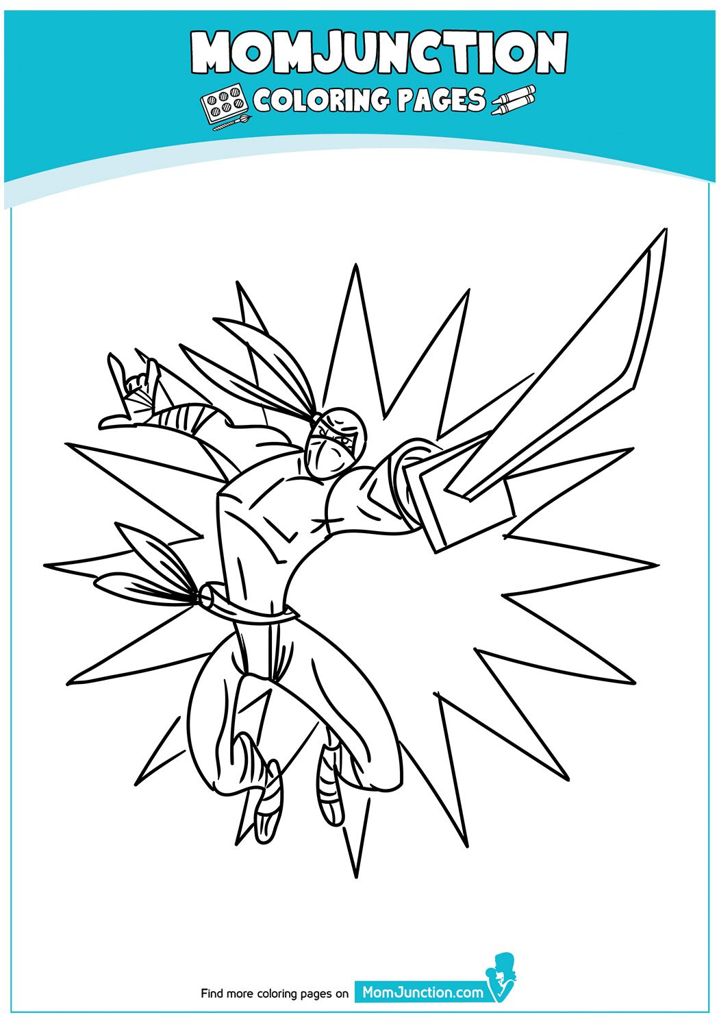 The Cute Ninja Boy With Funky Costume Coloring Page In