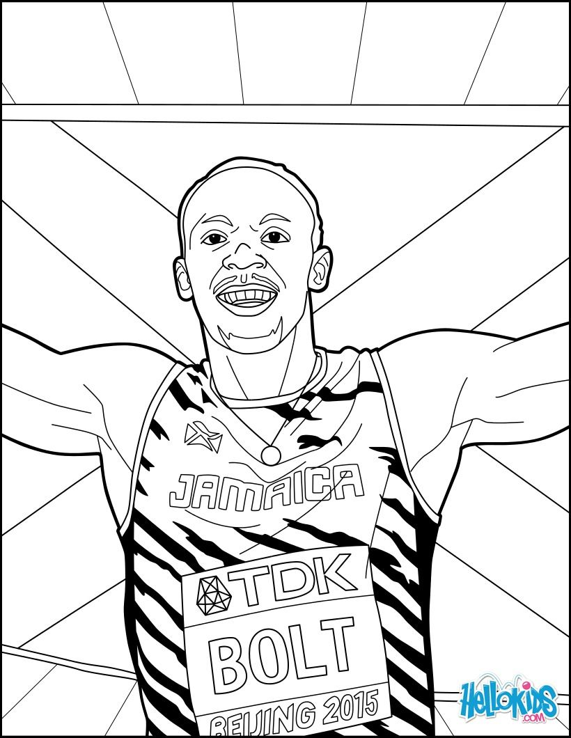 Usain Bolt Coloring Page For World Championships Athletics 2017 More Sports And Athletics Coloring Sheets O Sports Coloring Pages Coloring Pages Sketch Book